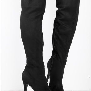 Over the Knee Boots-Black Suede